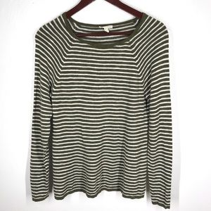 EILEEN FISHER Green Ivory Striped Long Sleeve S